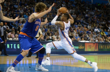 OKC guard Russell Westbrook drives to the basket against Knicks' Robin Lopez USA Today Sports - Mark D. Smith