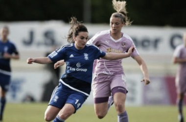 Birmingham City's Melissa Lawley is tackled by Kayleigh Hines of Reading (Image Source: The FA)