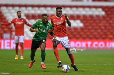 Sammy Ameobi of Nottingham Forest battles with Jrmie Bela of Birmingham City during the Sky Bet Championship match between Nottingham Forest and Birmingham City at the City Ground, Nottingham on Saturday 26th December 2020. (Photo by Jon Hobley/MI News/NurPhoto via Getty Images)