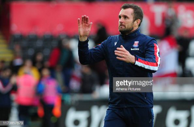 SWANSEA, WALES - OCTOBER 05: Nathan Jones Manager of Stoke City at full time during the Sky Bet Championship match between Swansea City and Stoke City at the Liberty Stadium on October 05, 2019 in Swansea, Wales. (Photo by Athena Pictures/Getty Images)