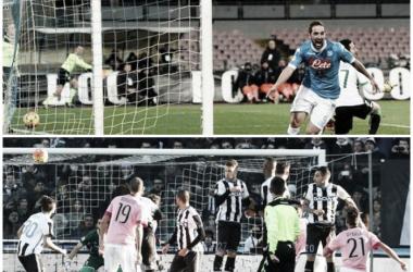 Higuaín y Dybala inflando redes en la 20° fecha del torneo italiano (Fotomontaje).