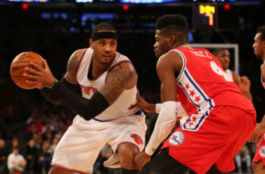 Sixers' big man Nerlens Noel defends Knicks' Carmelo Anthony. Photo Credit: Anthony Gruppuso/USA TODAY Sports