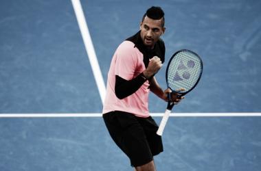 Kyrgios celebra uno de sus puntos. Foto: Ben Solomon/Tennis Australia