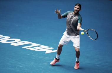 Adrian Mannarino in action at the Australian Open in January (Photo: Icon Sportwire)