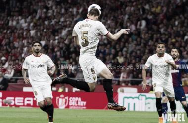Clément Lenglet en la final de la Copa del Rey de la temporada 2017/18 | Foto de Daniel Nieto, VAVEL