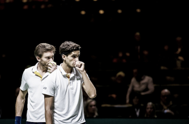 Pierre-Hugues Herbert and Nicolas Mahut  in action during the Rotterdam Open (Photo: Socrates Images)