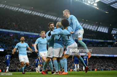 MANCHESTER, ENGLAND - MARCH 04: Bernardo Silva of Manchester City celebrates scoring his side's first goal with team mates during the Premier League match between Manchester City and Chelsea at Etihad Stadium on March 4, 2018 in Manchester, England.