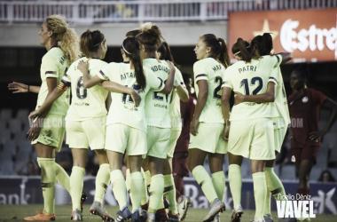 Las chicas de Fran Sánchez celebrando un gol de la remontada ante el BIIK Kazygurt | Foto de Noelia Déniz, VAVEL