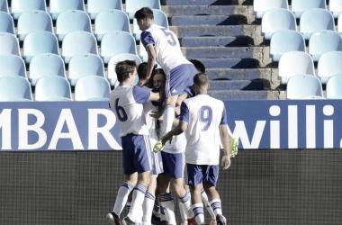Celebración del gol zaragocista/ Foto: realzaragoza.com