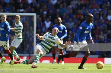 Glen Kamara taking the game away from Scott Brown Picture: Getty/Mark Runnacles