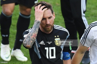 Lionel Messi in disarray/Credit: Francisco Leong