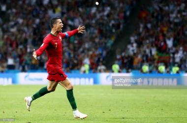 Cristiano Ronaldo celebrating his third versus Spain/Credit: Maddie Meyer