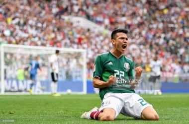 Hirving Lozano celebrating passionately against Germany/Credit: David Ramos