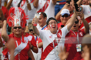 Peru fans celebrating their first goal of World Cup 2018/Credit: Stu Forster