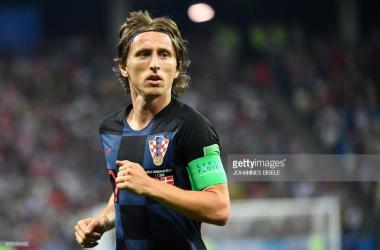 Luka Modric for Croatia versus Denmark/ Credit: Johannes Eisele