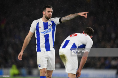 Shane Duffy makes a point to Dale Stephens against Burnley. Photo - Getty Images.