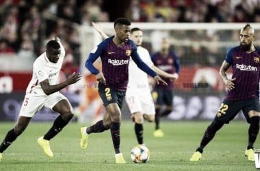 Nélson Semedo ante el Sevilla Fútbol Club en el Ramón Sánchez-Pizjuán | Foto de Jose María Colomo, VAVEL