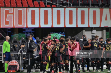 The Atlanta bench celebrates an Ezequiel Barco (8) first half goal during the MLS match between Chicago Fire FC and Atlanta United FC on April 24th, 2021 at Mercedes-Benz Stadium in Atlanta, GA. (Photo by Rich von Biberstein/Icon Sportswire via Getty Images)