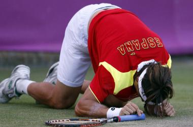 Ferrer se lamenta tras un tropiezo en su encuentro ante Nishikori.