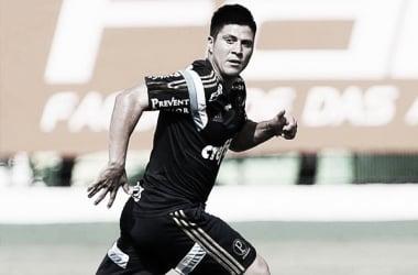 Cristaldo durante o jogo treino contra o Nacional (Foto: Divulgação/Ag.Palmeiras)