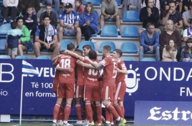 Los jugadores del Real Zaragoza celebran el gol de Shinji Kagawa/ Fto: realzaragoza.com