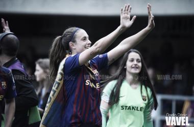 Alexia Putellas celebrando el pase a la final de la UEFA Women's Champions League tras la victoria ante el Bayern de Múnich en el Miniestadi | Foto de Noelia Déniz, VAVEL