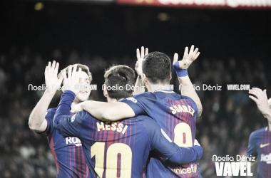 El Barça celebrando un gol esta temporada. Foto: Noelia Déniz, VAVEL