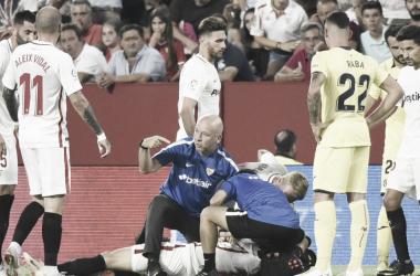 Escudero sufre una luxación en su codo izquierdo. Foto: Sevilla FC.