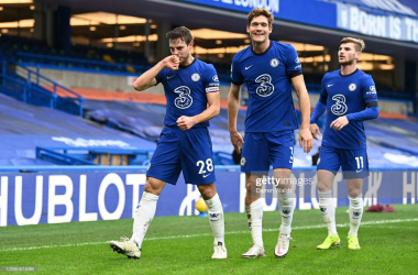 Cesar Azpilicueta of Chelsea celebrates with team mates (L - R) Marcos Alonso and Timo Werner after scoring their side's first goal during the Premier League match between Chelsea and Burnley at Stamford Bridge on January 31, 2021 in London, England. (Photo by Darren Walsh/Chelsea FC via Getty Images)