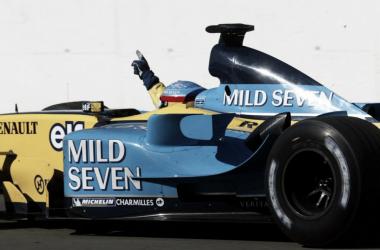 El R23 ganaba el GP de Hungria de 2003 montando neumáticos Michelín | Foto: formula1.com