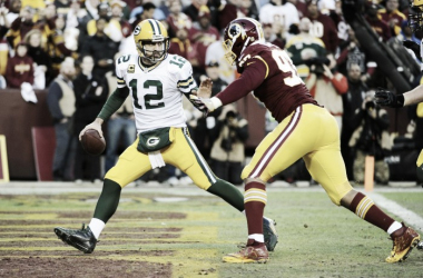 Aaron Rodgers in a game against the Washington Redskins |- Source: Brad Mills - USA TODAY Sports