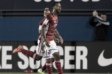 Kellyn Acosta celebrate goal in CONCACAF Champions League quarterfinal.   Photo: CONCACAF