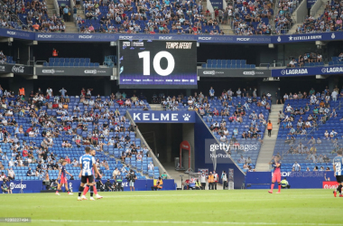 <div>RCD Espanyol v Club Atletico de Madrid - LaLiga Santander</div><div><br></div><div>Ten minutes of added time in the match between FC RCD Espanyol and Atletico de Madrid, corresponding to the week 4 of the Liga Santander, played at the RCDE Stadium, on 12th September 2021, in Barcelona, Spain. -- (Photo by Urbanandsport/NurPhoto via Getty Images)</div>