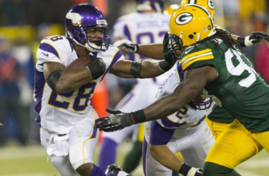 Adrian Peterson will be leading the Vikings against the Packers for the division title this season. Photo by Jeff Hanisch, USA Today Sports.