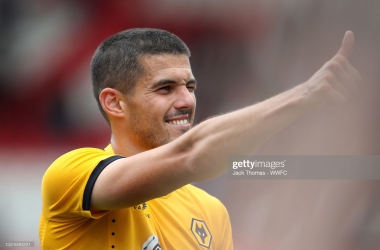 Coady acknowledges the travelling Wolves fans after the draw with Stoke City.(Photo by Jack Thomas - WWFC/Wolves via Getty Images)