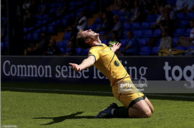 Above: Hartlepool United danger man Rhys Oates celebrates his winner in the play-off semi-finals. (Photo by Charlotte Tattersall/Getty Images)