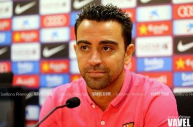 Xavi en una rueda de prensa cuando aún era jugador del Barça | Foto: Suetlana Akimova (VAVEL. com)