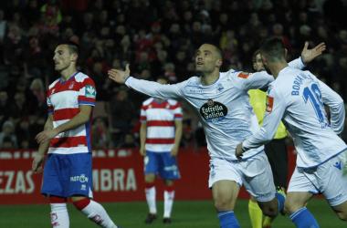 Quique González celebra su tanto ante el Granada CF. Foto: Antonio L Juárez