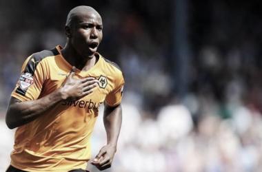 Benik Afobe celebrates opening the scoring for Wolves - image via @OfficialWolves