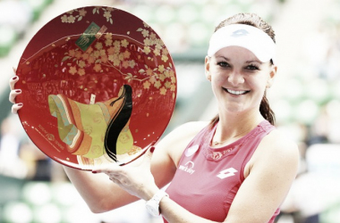 Agnieszka Radwanska of Poland poses for a photograph after winning against Belinda Bencic of Switzerland during day 7 of women's single final the Toray Pan Pacific Open at Ariake Colosseum on September 27, 2015 in Tokyo, Japan. (Photo by Koji Watanab