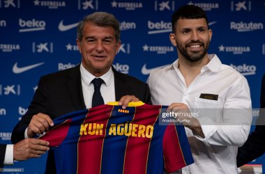 <div>BARCELONA, SPAIN - MAY 31: Former Manchester City's player, Argentinian forward Sergio Aguero poses at the Camp Nou stadium in Barcelona, Spain during his official presentation as new player of FC Barcelona on May 31, 2021. (Photo by Adria Puig/Anadolu Agency via Getty Images)</div>