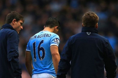 Sergio Agüero limped off with a calf injury in City's 6-3 win over Arsenal on Saturday.