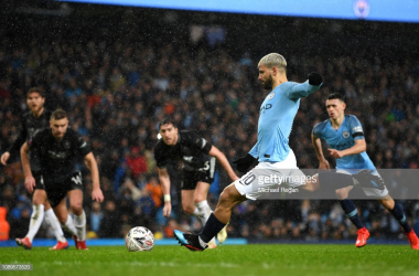 Sergio Aguero nets City's fifth and final goal from the spot