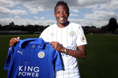 Ahmed Musa poses with a Leicester City shirt as he completes a club record deal. Picture source: si.com