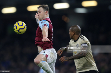 BURNLEY, ENGLAND - DECEMBER 28: Ashley Barnes of Burnley battles with Ashley Young of Man Utd during the Premier League match between Burnley FC and Manchester United at Turf Moor on December 28, 2019 in Burnley, United Kingdom. (Photo by Simon Stacpoole/Offside/Offside via Getty Images)