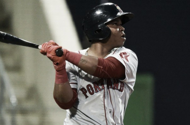 Rafael Devers has hit six long ballls and is hitting .333 at Double-A. How fast are the Red Sox willing to move him? Kevin Pataky/MILB.com