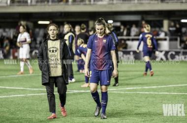 Aitana Bonmatí y Patricia Guijarro en un partido de Champions con la camiseta azulgrana. Foto: Beto, VAVEL.com