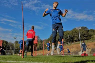 Januzaj en la sesión de entrenamiento de esta misma semana en Zubieta | Imagen: Real Sociedad CF