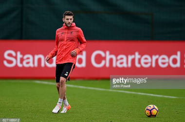 Adam Lallana trains at Liverpool's Melwood training ground (Photo credit: John Powell, Getty Images)