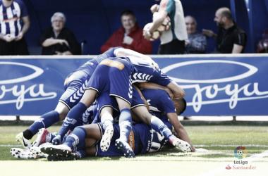 El equipo albiazul celebra el gol de Theo Hernández. Fotografía: LaLiga